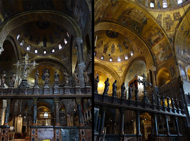 Inside the Basilica San Marco, with and without lighting