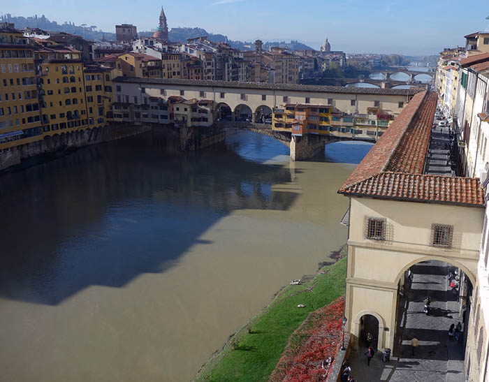 Ponte Vecchio, as seen from the Uffizi windows. Note Vasari's corridor in the foreground.