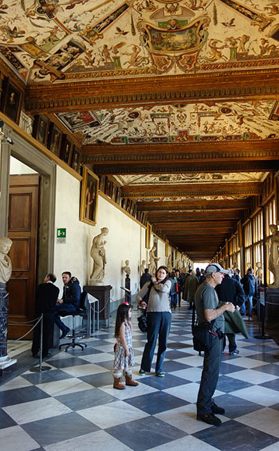 Corridors in the Uffizi. Look at those ceilings!