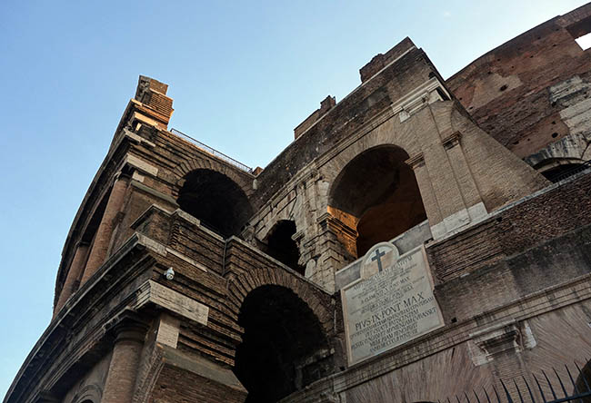 The Colosseum is now a Christian holy sight, because there's a legend that Christians were persecuted there.