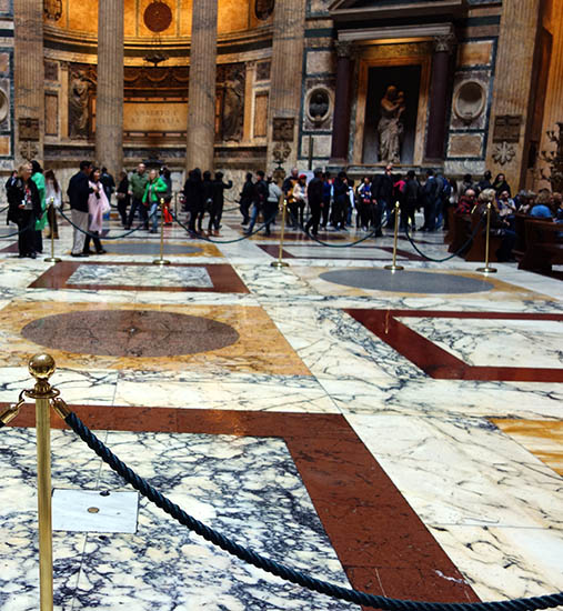 Inside the Pantheon, during a rain shower