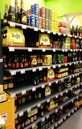 Standard beer selection in a 7-11 type convenience store! Chimay, Leffe, Hoegarten, etc!