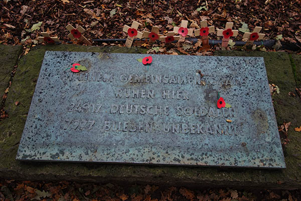 """In a mixed grave, here rest 24,917 German Soldiers. 7,977 remain unknown."""