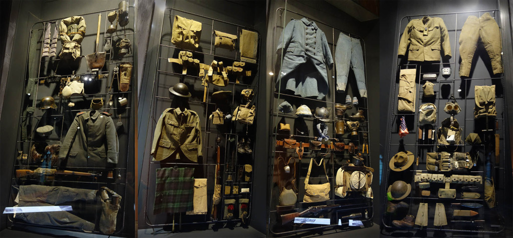 Uniforms at the Ypres museum: German, UK, French, American. Click to expand.