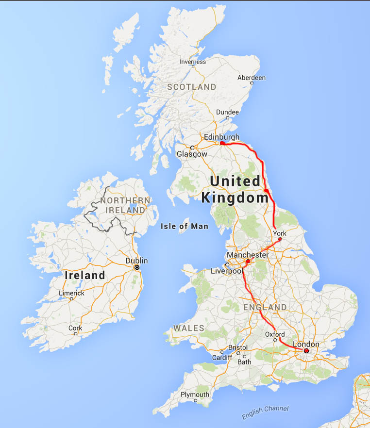 Our itinerary, from London to Edinburgh