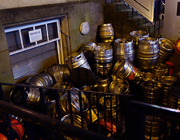 Kegs outside a Newcastle pub