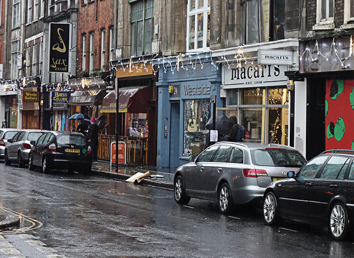 Denmark Street, rain