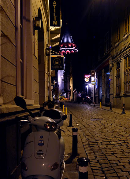 Nighttime view from our street towards Galata tower